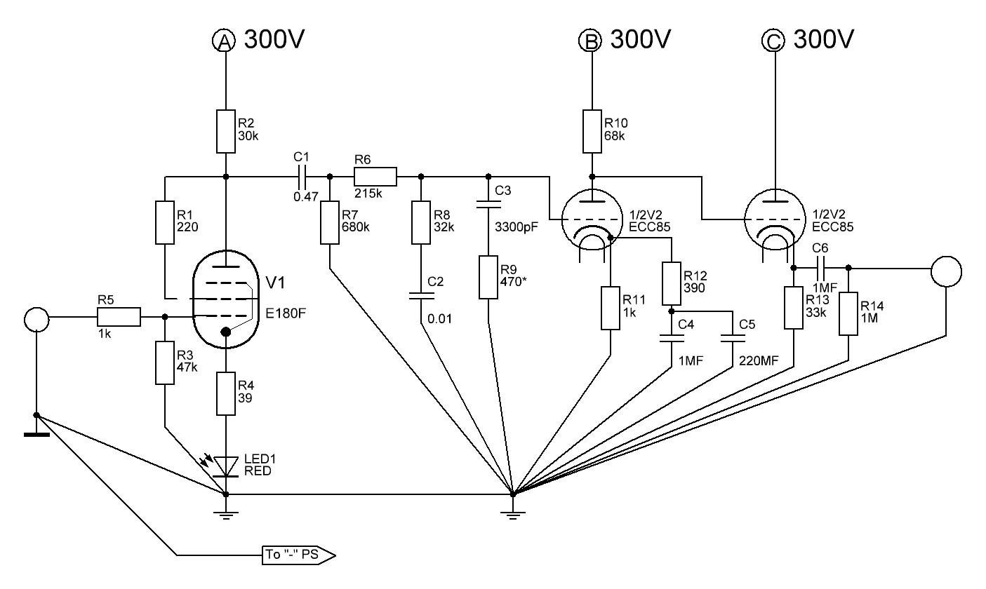 Riaa корректор на лампах схема